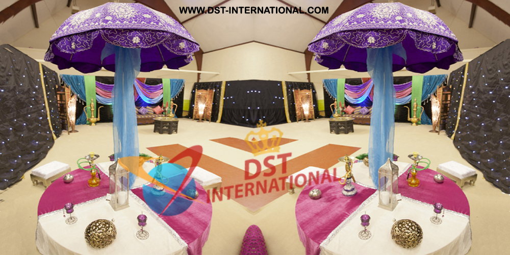 Muslim sangeet reception umbrella decor dst international for Art decoration international
