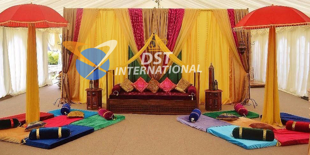Modern mehndi stage decoration dst international for Modern home decor items india