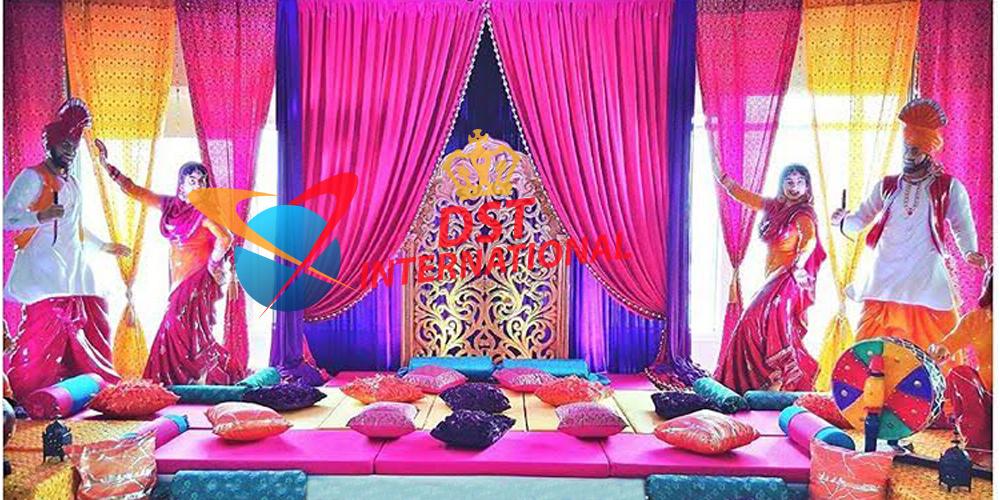 Punjabi Wedding Mehndi Sangeet Stage Decoration