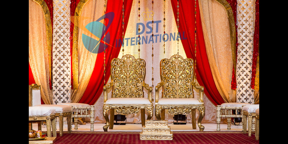 Golden Wooden Carved Mandap Chairs