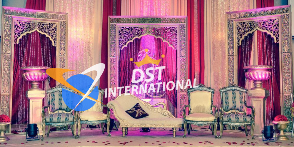 Indian wedding stage decoration dst international for Art decoration international