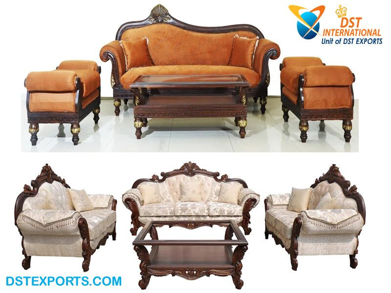 Best Quality Hand Carved Wooden Sofa, Traditional Teak Wood Sofa Set Designs Pictures